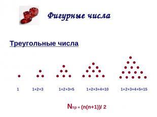 Фигурные числа Треугольные числа 1 1+2=3 1+2+3=5 1+2+3+4=10 1+2+3+4+5=15 Nтр = (