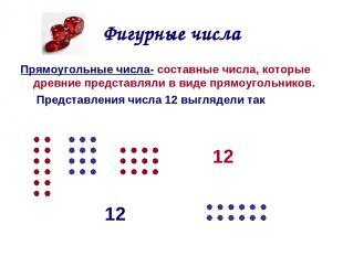 Фигурные числа Прямоугольные числа- составные числа, которые древние представлял