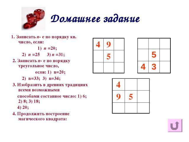 Домашнее задание 1. Записать n- е по порядку кв. число, если: 1) n =20; 2) n =25 3) n =31; 2. Записать n- е по порядку треугольное число, если: 1) n=20; 2) n=33; 3) n=34; 3. Изобразить в древних традициях всеми возможными способами составное число: …
