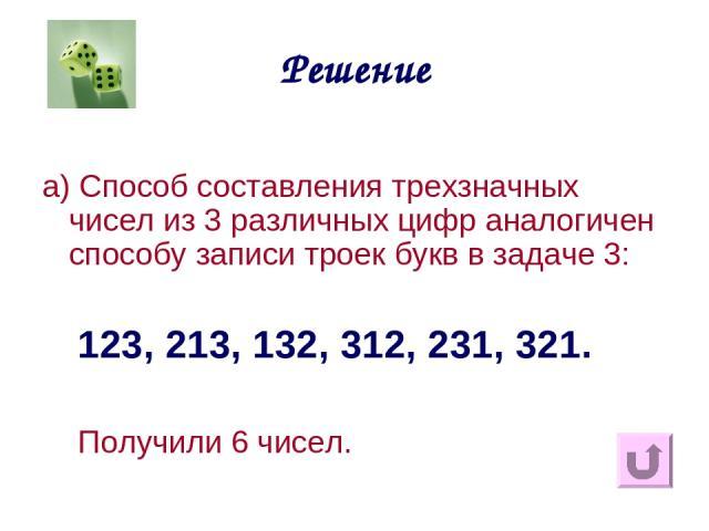 Решение а) Способ составления трехзначных чисел из 3 различных цифр аналогичен способу записи троек букв в задаче 3: 123, 213, 132, 312, 231, 321. Получили 6 чисел.