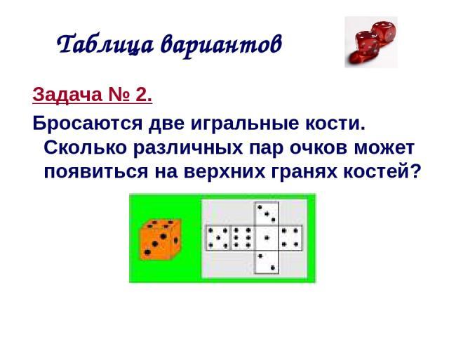 Таблица вариантов Задача № 2. Бросаются две игральные кости. Сколько различных пар очков может появиться на верхних гранях костей?