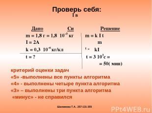 I в Дано Си Решение m = 1,8 г = 1,8 10–3 кг m = k I t I = 2A m k = 0,3 10–6 кг/к
