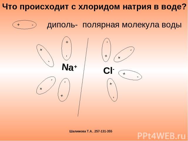 диполь- полярная молекула воды Что происходит с хлоридом натрия в воде? Шалимова Т.А.. 257-131-355