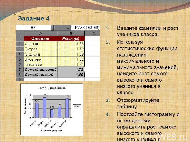 Введите фамилии и рост учеников класса. Используя статистические функции нахождения максимального и минимального значений, найдите рост самого высокого и самого низкого ученика в классе. Отформатируйте таблицу. Постройте гистограмму и по ее данным о…