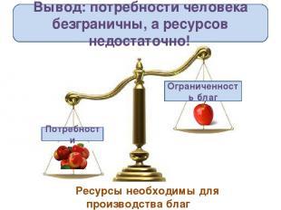 Вывод: потребности человека безграничны, а ресурсов недостаточно! Потребности Ог