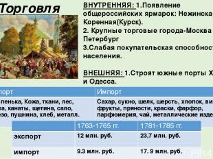 5. Торговля ВНУТРЕННЯЯ: 1.Появление общероссийских ярмарок: Нежинская, Коренная(