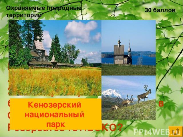 Охраняемые природные территории 30 баллов Какой национальный парк Архангельской области в 2004 году получил статус биосферного и был включён в Список Биосферных Резерватов ЮНЕСКО? Кенозерский национальный парк