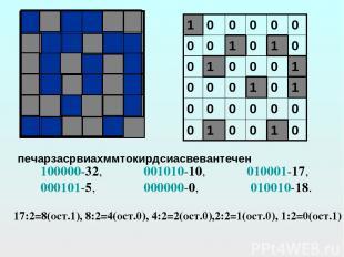 100000-32, 001010-10, 010001-17, 000101-5, 000000-0, 010010-18. 17:2=8(ост.1), 8