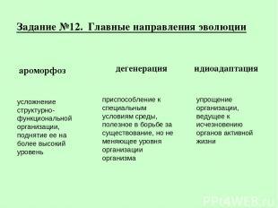 Задание №12. Главные направления эволюции ароморфоз дегенерация идиоадаптация ус