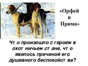 «Орфей и Прима» Что произошло с героем в охотничьем стане, что явилось причиной