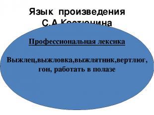Язык произведения С.А.Костюнина Профессиональная лексика Выжлец,выжловка,выжлятн