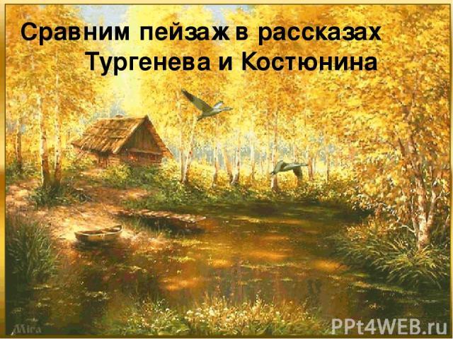 Сравним пейзаж в рассказах Тургенева и Костюнина