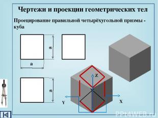 Чертежи и проекции геометрических тел Проецирование четырёхугольной призмы - пар