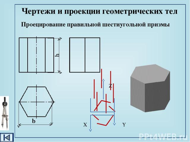 Проецирование правильной четырёхугольной пирамиды Чертежи и проекции геометрических тел b h