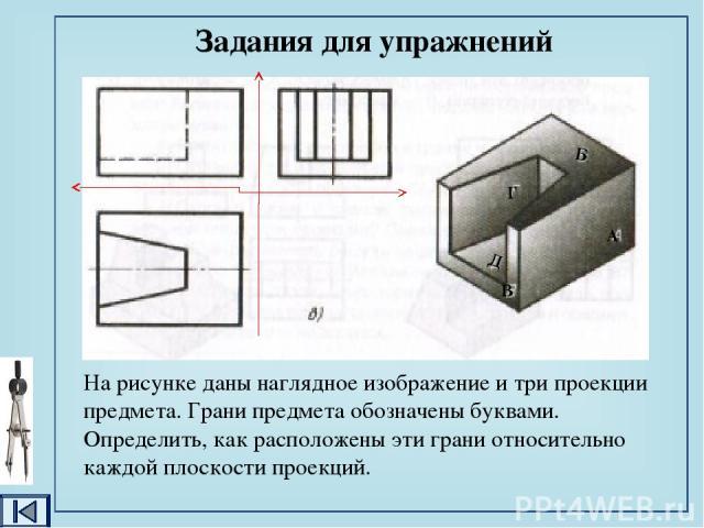 1. Анализ геометрической формы детали и её симметричности. 2. Установление геометрической формы детали, на поверхности которой задана точка. 3. Определение видимости каждой геометрической формы на заданных видах детали. 4. Построение проекций точки …