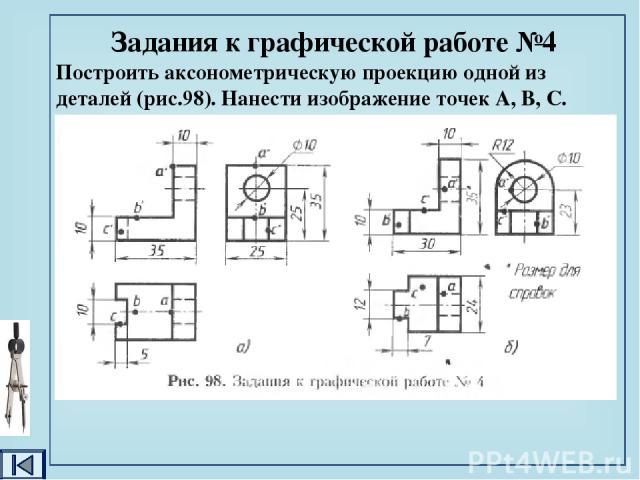 Задание к графической работе №4 По наглядному изображению деталей (рис.99) построить чертёж в необходимом количестве видов. Нанести и обозначить на всех видах точки А, В и С. C B A