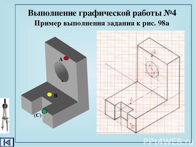 Домашнее задание §§ 10, 11, 12; стр. 59 – 80. Выполнить графическую работу №4. Задание к графической работе: 1. построить аксонометрическую проекцию одной из деталей (рис.98). Нанести изображение точек А, В, С; 2. по наглядному изображению одной из …