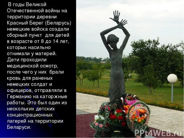 * В годы Великой Отечественной войны на территории деревни Красный Берег (Беларусь) немецкие войска создали сборный пункт для детей в возрасте от 8 до 14 лет, которых насильно отнимали у матерей. Дети проходили медицинской осмотр, после чего у них б…