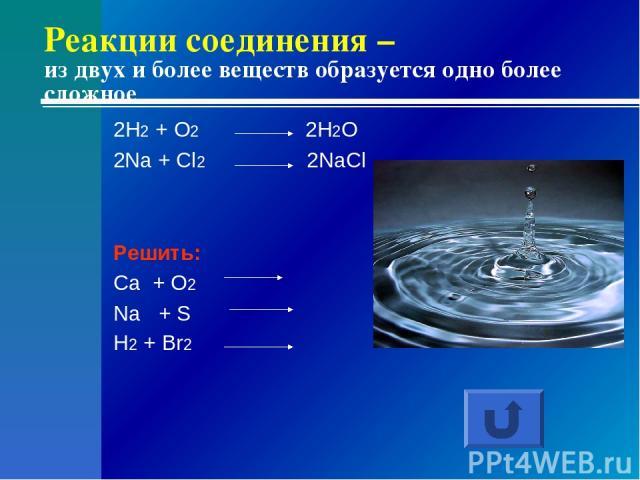 Реакции соединения – из двух и более веществ образуется одно более сложное 2H2 + O2 2H2O 2Na + Cl2 2NaCl Решить: Ca + O2 Na + S H2 + Br2
