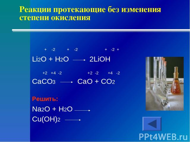 Реакции протекающие без изменения степени окисления + -2 + -2 + -2 + Li2O + H2O 2LiOH +2 +4 -2 +2 -2 +4 -2 CaCO3 CaO + CO2 Решить: Na2O + H2O Cu(OH)2
