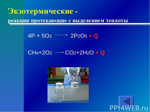 Экзотермические - реакции протекающие с выделением теплоты 4P + 5O2 2P2O5 + Q CH4+2O2 CO2+2H2O + Q