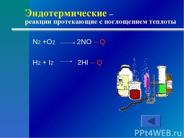 Эндотермические – реакции протекающие с поглощением теплоты N2 +O2 2NO – Q H2 + I2 2HI – Q