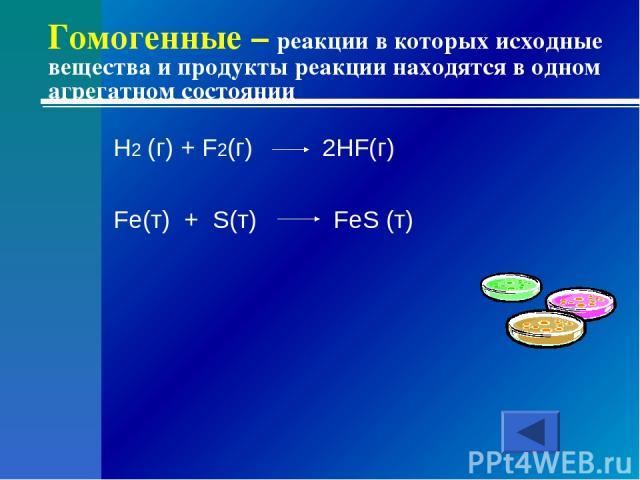 Гомогенные – реакции в которых исходные вещества и продукты реакции находятся в одном агрегатном состоянии H2 (г) + F2(г) 2HF(г) Fe(т) + S(т) FeS (т)