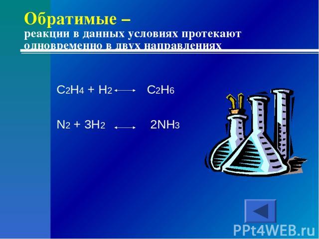 Обратимые – реакции в данных условиях протекают одновременно в двух направлениях C2H4 + H2 C2H6 N2 + 3H2 2NH3