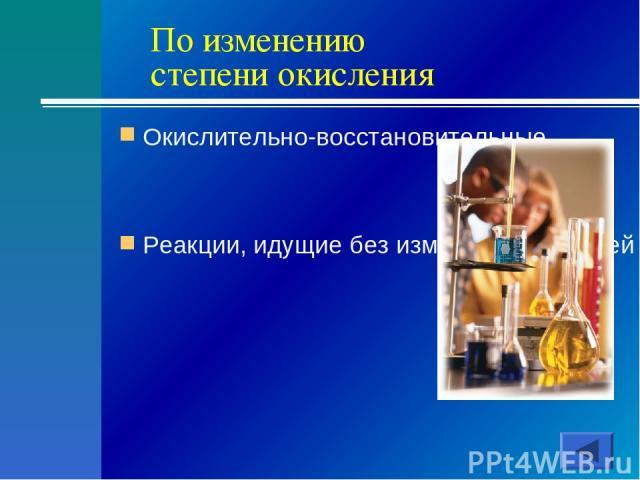 По изменению степени окисления Окислительно-восстановительные Реакции, идущие без изменения степеней окисления химических элементов