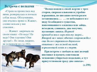 Встреча с волками «Стрекоза пронеслась над ними, развернулась и погнала собак на