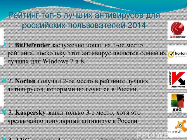 Рейтинг топ-5 лучших антивирусов для российских пользователей 2014 1.BitDefenderзаслуженно попал на 1-ое место рейтинга, поскольку этот антивирус является одним из лучших для Windows 7 и 8. 2.Nortonполучил 2-ое место в рейтинге лучших антивирусо…
