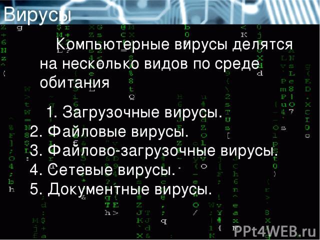 Вирусы Компьютерные вирусы делятся на несколько видов по среде обитания 1. Загрузочные вирусы. 2. Файловые вирусы. 3. Файлово-загрузочные вирусы. 4. Сетевые вирусы. 5. Документные вирусы.