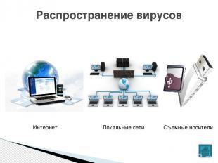 Распространение вирусов Локальные сети Интернет Съемные носители