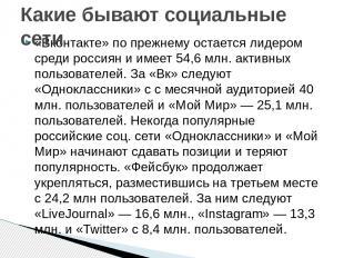 «Вконтакте» по прежнему остается лидером среди россиян и имеет 54,6 млн. активны