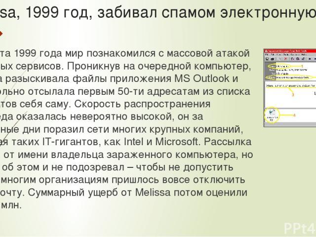 . Melissa, 1999 год, забивал спамом электронную почту 26 марта 1999 года мир познакомился с массовой атакой почтовых сервисов. Проникнув на очередной компьютер, Melissa разыскивала файлы приложения MS Outlook и самовольно отсылала первым 50-ти адрес…