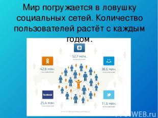 Мир погружается в ловушку социальных сетей. Количество пользователей растёт с ка