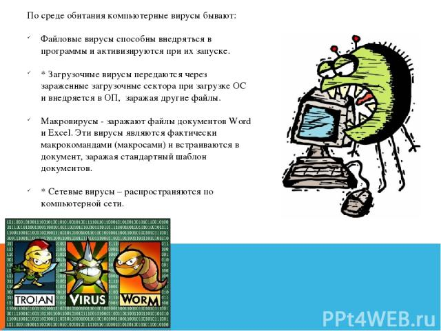 По среде обитания компьютерные вирусы бывают: Файловые вирусы способны внедряться в программы и активизируются при их запуске. * Загрузочные вирусы передаются через зараженные загрузочные сектора при загрузке ОС и внедряется в ОП, заражая другие фай…