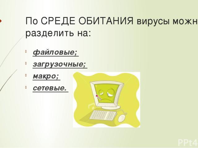 По СРЕДЕ ОБИТАНИЯ вирусы можно разделить на: файловые; загрузочные; макро; сетевые.