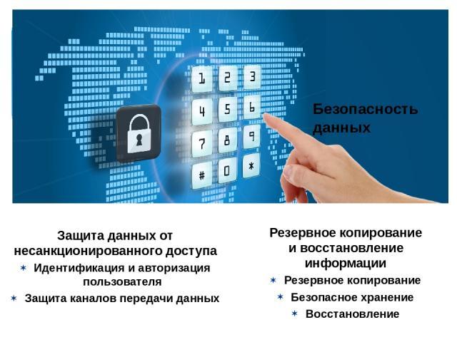 Безопасность данных Защита данных от несанкционированного доступа Идентификация и авторизация пользователя Защита каналов передачи данных Резервное копирование и восстановление информации Резервное копирование Безопасное хранение Восстановление