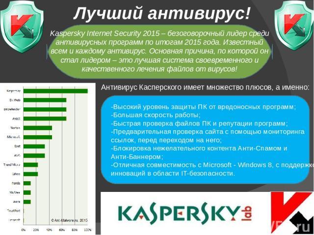 Лучший антивирус! Антивирус Касперского имеет множество плюсов, а именно: -Высокий уровень защиты ПК от вредоносных программ; -Большая скорость работы; -Быстрая проверка файлов ПК и репутации программ; -Предварительная проверка сайта с помощью монит…