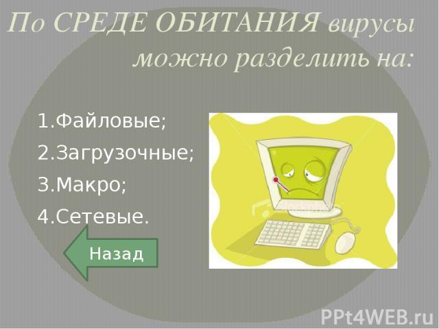 Загрузочные вирусы Загрузочные вирусы заражают загрузочные сектора дисков (boot-сектор), либо главную загрузочную запись (Master Boot Record), либо меняют указатель на активный boot-сектор. Назад