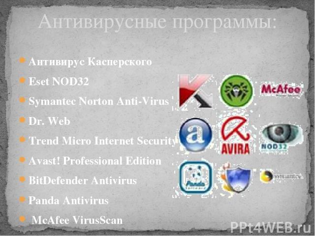 Антивирус Касперского Eset NOD32 Symantec Norton Anti-Virus Dr. Web Trend Micro Internet Security Avast! Professional Edition BitDefender Antivirus Panda Antivirus McAfee VirusScan Avira AntiVir Антивирусные программы: