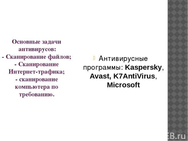 Основные задачи антивирусов: - Сканирование файлов; - Сканирование Интернет-трафика; - сканирование компьютера по требованию. Антивирусные программы: Kaspersky, Avast, K7AntiVirus, Microsoft