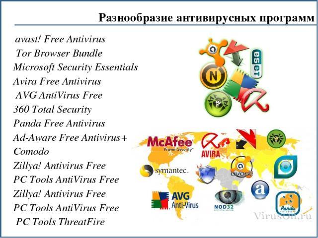 avast! Free Antivirus Tor Browser Bundle Microsoft Security Essentials Avira Free Antivirus AVG AntiVirus Free 360 Total Security Panda Free Antivirus Ad-Aware Free Antivirus+ Comodo Zillya! Antivirus Free PC Tools AntiVirus Free Zillya! Antivirus F…