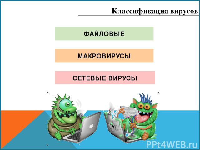 ФАЙЛОВЫЕ МАКРОВИРУСЫ СЕТЕВЫЕ ВИРУСЫ Классификация вирусов