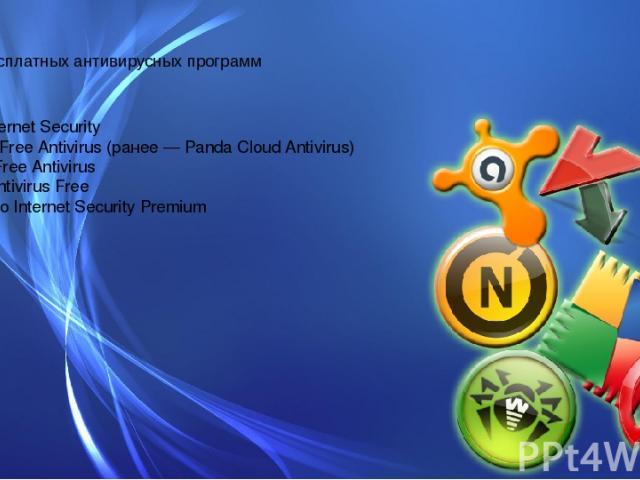 Топ-5 бесплатных антивирусных программ 1)360 Internet Security 2)Panda Free Antivirus (ранее — Panda Cloud Antivirus) 3)Avast Free Antivirus 4)AVG Antivirus Free 5)Comodo Internet Security Premium