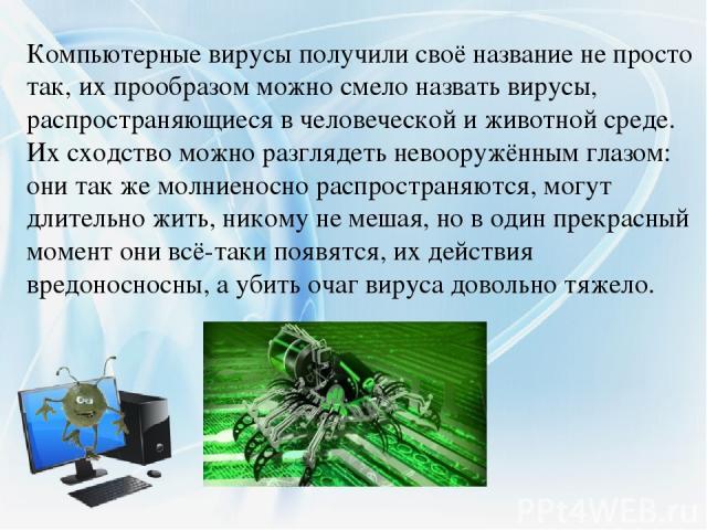 Компьютерные вирусы получили своё название не просто так, их прообразом можно смело назвать вирусы, распространяющиеся в человеческой и животной среде. Их сходство можно разглядеть невооружённым глазом: они так же молниеносно распространяются, могут…