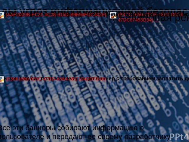 Виды угроз информационной безопасности Все эти баннеры собирают информацию о пользователе и передают ее своему разработчику.