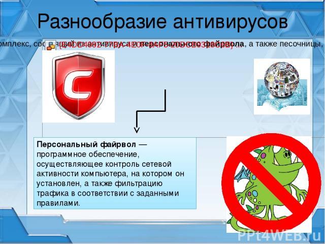 Разнообразие антивирусов Персональный файрвол — программное обеспечение, осуществляющее контроль сетевой активности компьютера, на котором он установлен, а также фильтрацию трафика в соответствии с заданными правилами.