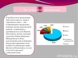 1. Вредоносные программы К вредоносным программам относятся вирусы, черви и «тро